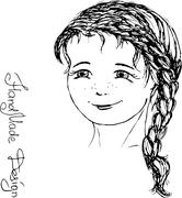 Girl face painted by hand,  vector illustration Stock Illustration