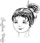 girl face painted by hand,  vector illustration - stock illustration