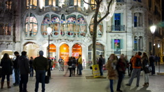 Barcelona night light tourist street casa batllo 4k time lapse spain Stock Footage