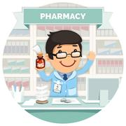Apothecary behind the Counter at Pharmacy Round Banner - stock illustration