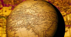 Spinning Globe With Ancient World Map Stock Footage