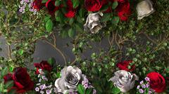 flowers rose holiday background on gray wall - stock illustration