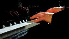 4K Cinematic Dolly In Shot, Pianist Playing Grant Piano, Stage Lighting Stock Footage
