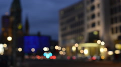 Blur video of night time traffic at Berlin Gedaechtnisskirche Stock Footage