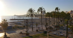 Famous mediterranean sea spain town panorama 4k sitges Stock Footage