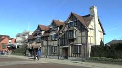 Shakespeare's Birthplace and museum in Stratford Upon Avon, UK. - stock footage