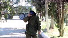 Russian soldier ocupacion in Crimea Stock Footage