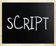 """Script"" handwritten with white chalk on a blackboard Stock Photos"