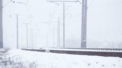 Snowy railway Stock Footage