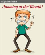 A man with a foam in his mouth - stock illustration