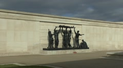 Sculpture in the Armed Forces Memorial, National Memorial Arboretum, UK. - stock footage