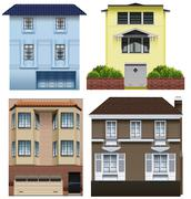 Different building designs - stock illustration