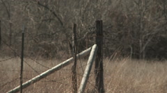 Farm Fence Post and Barbed Wire Stock Footage