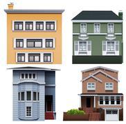 Four buildings Stock Illustration