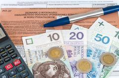 Polish individual tax form PIT-37 - stock photo