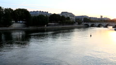 France Paris River Seine IIe de la Citie dawn sunrise boat Stock Footage