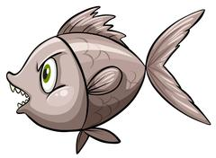 A fish in deep water - stock illustration