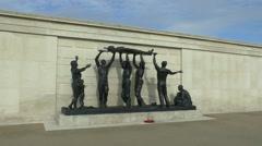 Sculpture in the Armed Forces Memorial, National Memorial Arboretum, UK. - stock footage