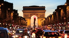 France Paris Arc de Triomphe Avenue Champs Elyses Stock Footage