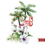 Flamingo with palms and flowers - stock illustration