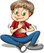 Stock Illustration of A boy with a golden heart idiom