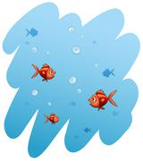 A school of fishes - stock illustration
