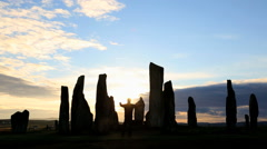 Isle Lewis Outer Hebrides Callanish Standing Stones sunset Stock Footage