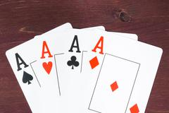 Poker aces cards,  concept of poker game texas Stock Photos