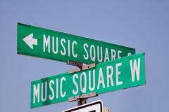 Music Square street sign in Nashville Stock Photos