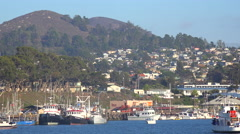 Establishing shot of the quaint fishing village of Morro Bay, California. Stock Footage