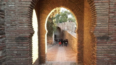 Small alleys in Alcazaba Malaga Stock Footage