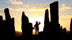Isle Lewis Outer Hebrides Callanish Standing Stones Scotland sunset Stock Footage