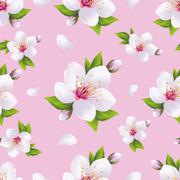 Beautiful background seamless pattern, sakura blossom - stock illustration