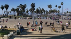 Stock Video Footage of Venice Beach Basketball Courts Establishing Shot