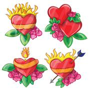 Cartoon hearts with fire for design Stock Illustration
