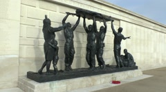 Sculpture in the Armed Forces Memorial, National Memorial Arboretum, UK. Stock Footage
