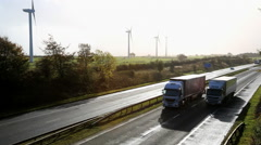 Scotland Dual Carriageway Motorway Wind Turbines Stock Footage