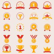 Set of awards and victory icons - stock illustration