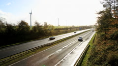 Scotland Dual Carriageway Motorway Wind Turbines - stock footage