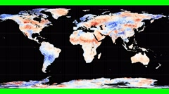 NEO - Land Surface Temperature Anomally. Geographic. Graticule. Rotating Stock Footage