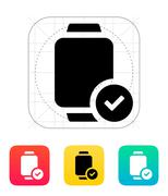 Accept sign on smart watch icon Stock Illustration