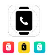 Smart watch call with handset icon - stock illustration