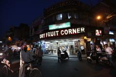 Night view in indian market  - stock photo