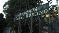 Big sign Alcazaba and Teatro Romano Stock Footage