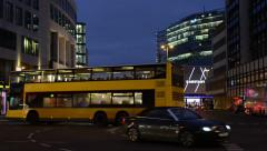 Night time traffic at Berlin. Bus and cars passing by Stock Footage