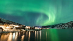 Aurora Borealis (Northern Lights) timelapse at Tromso Stock Footage
