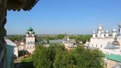 Panorama of Kremlin in ancient town Rostov the Great Stock Footage