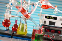 Modern chemical laboratory. Installation for synthesis Stock Photos