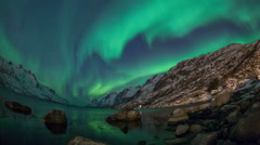 Aurora Borealis (Northern Lights) timelapse at Ersfjordbotn Stock Footage