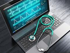 Laptop with medical diagnostic software and stethoscope Stock Illustration
